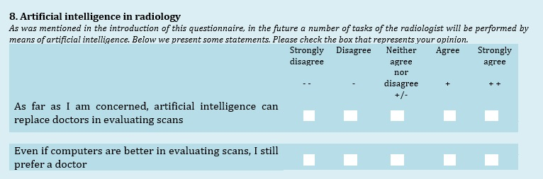 Patients' views on the implementation of artificial intelligence in radiology: development and validation of a standardized questionnaire