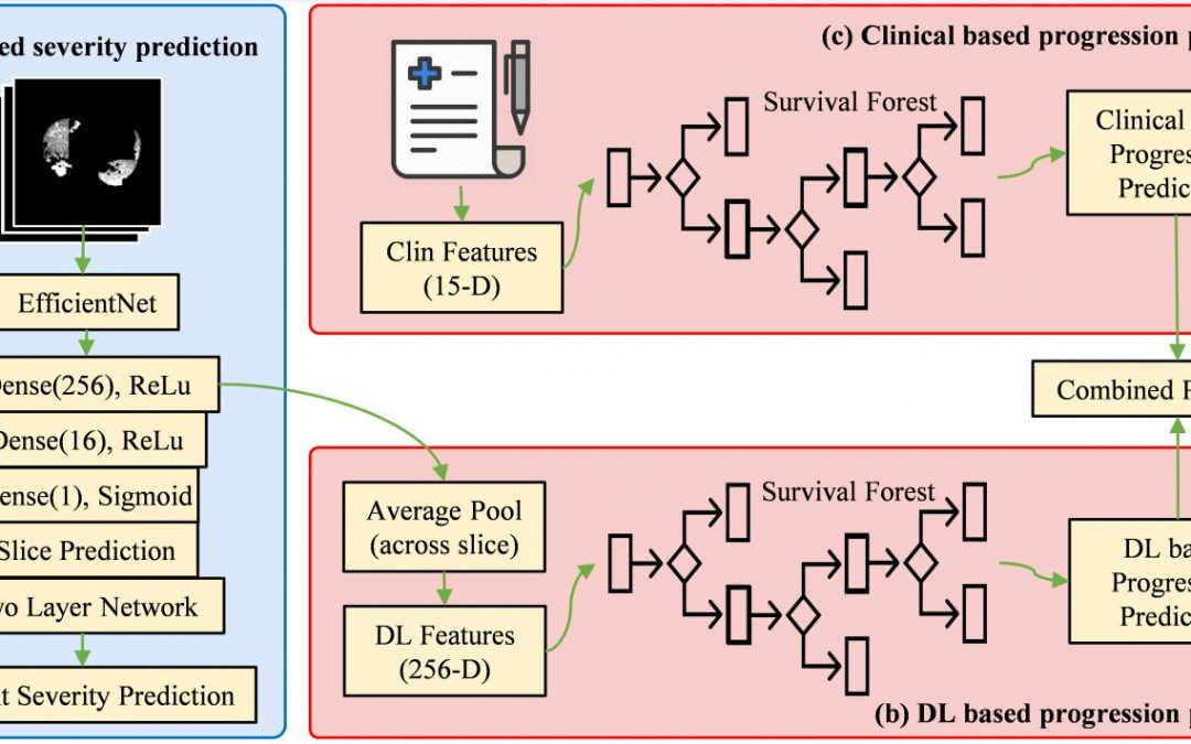 Artificial intelligence for prediction of COVID-19 progression using CT imaging and clinical data